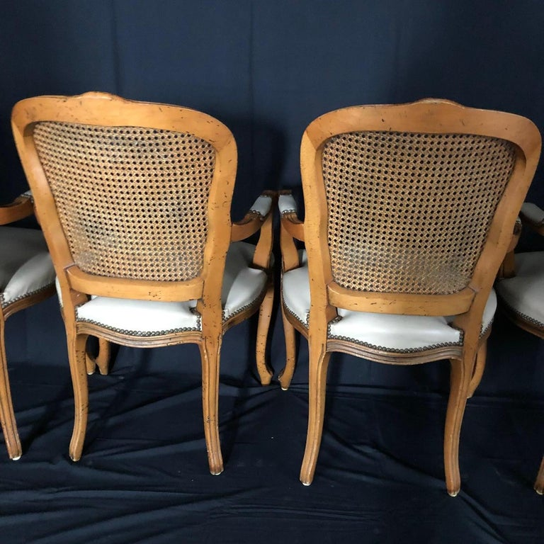 Set of Five Louis XV French Walnut Chairs with Classic Brass Tacking For Sale 6