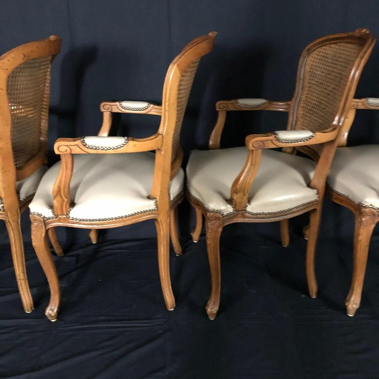 Set of Five Louis XV French Walnut Chairs with Classic Brass Tacking For Sale 7