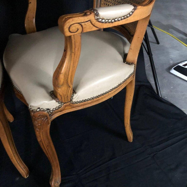 Set of Five Louis XV French Walnut Chairs with Classic Brass Tacking For Sale 8