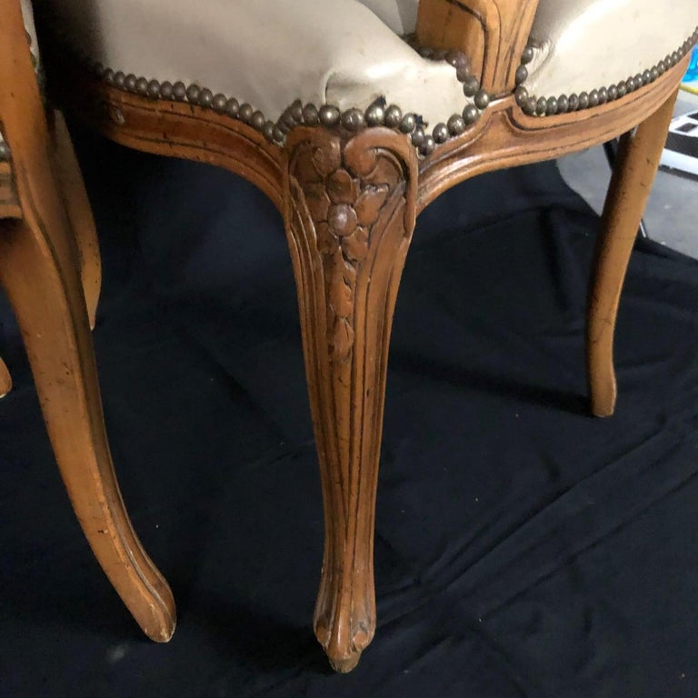 Set of Five Louis XV French Walnut Chairs with Classic Brass Tacking For Sale 9