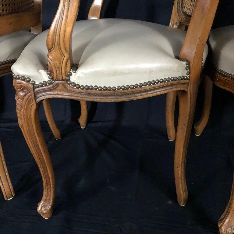 Set of Five Louis XV French Walnut Chairs with Classic Brass Tacking For Sale 10