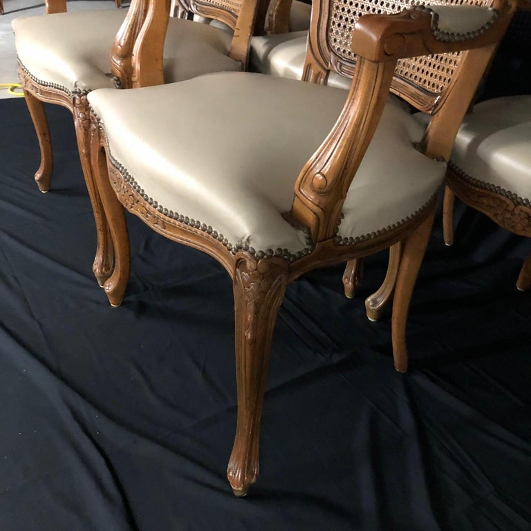 Set of Five Louis XV French Walnut Chairs with Classic Brass Tacking In Good Condition For Sale In Hopewell, NJ