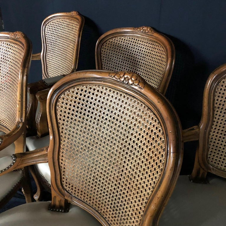 Mid-20th Century Set of Five Louis XV French Walnut Chairs with Classic Brass Tacking For Sale