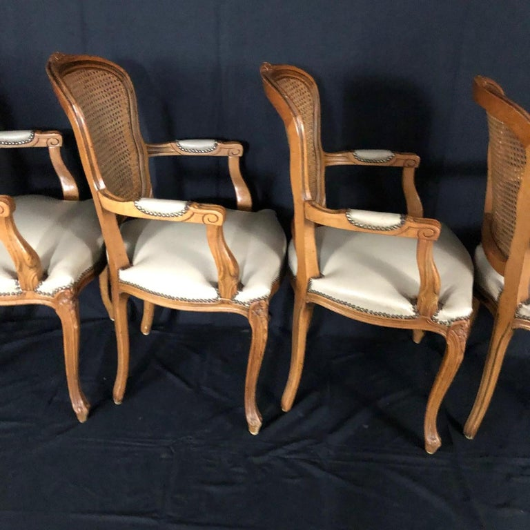 Set of Five Louis XV French Walnut Chairs with Classic Brass Tacking For Sale 3