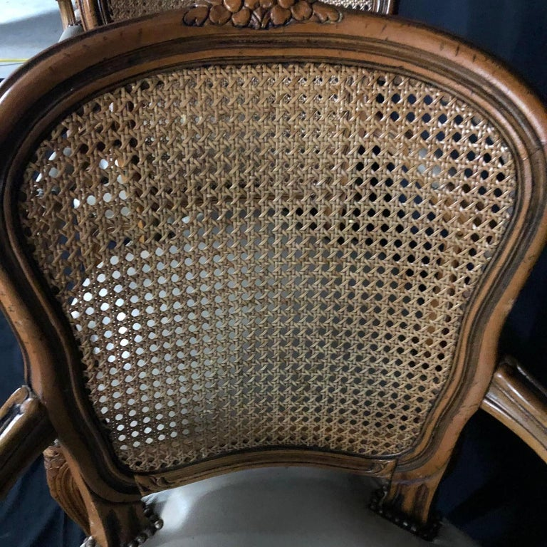 Set of Five Louis XV French Walnut Chairs with Classic Brass Tacking For Sale 4