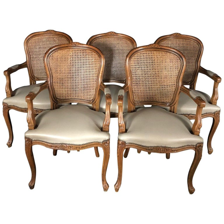 Set of Five Louis XV French Walnut Chairs with Classic Brass Tacking For Sale
