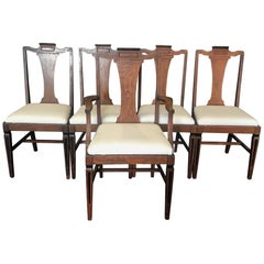 Set of Five Louis XVI Style Oak Dining Chairs with Inlaid Marquetry