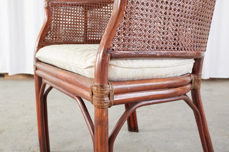 Set of Five McGuire Style Rattan Cane Barrel Back Dining Chairs For Sale 2