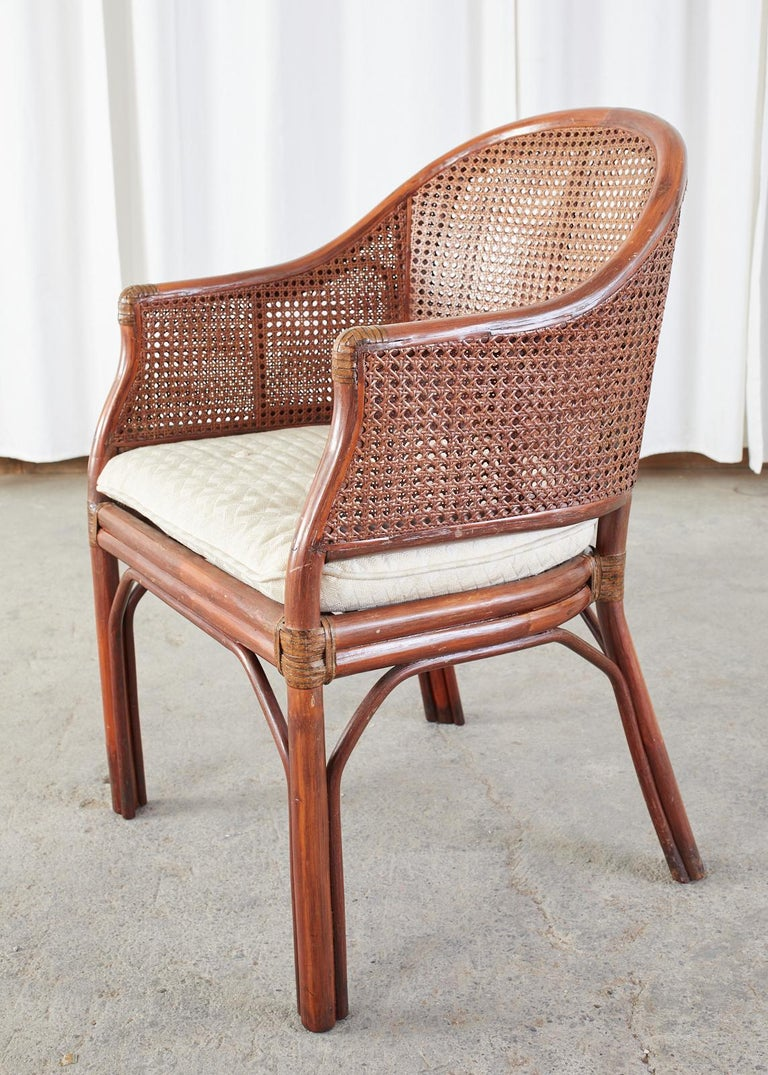 Set of Five McGuire Style Rattan Cane Barrel Back Dining Chairs For Sale 4