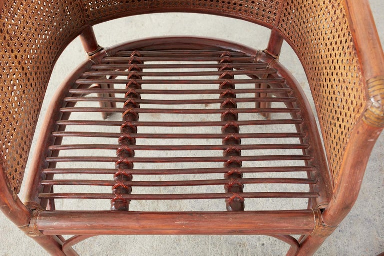 Set of Five McGuire Style Rattan Cane Barrel Back Dining Chairs For Sale 5