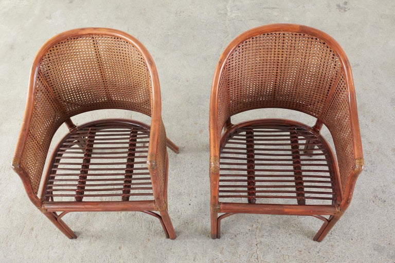 Set of Five McGuire Style Rattan Cane Barrel Back Dining Chairs For Sale 6