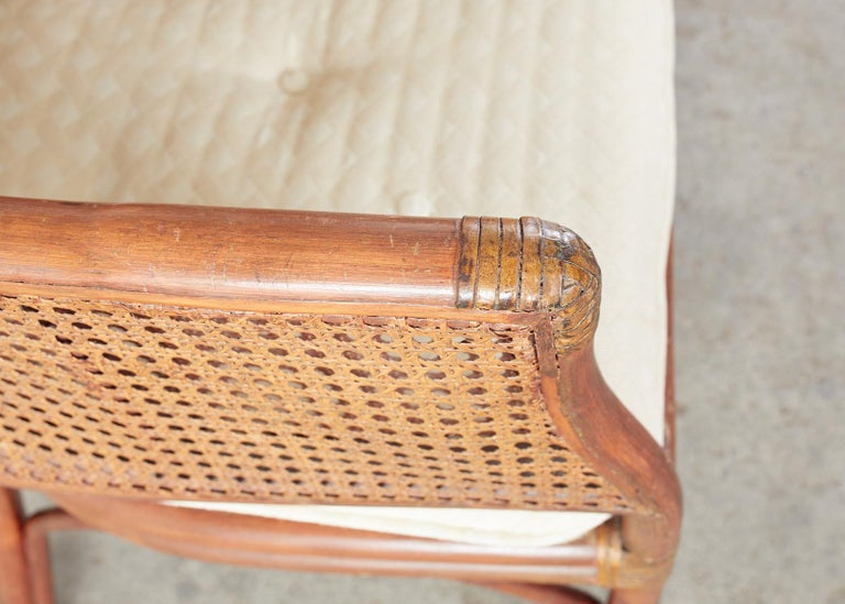 Set of Five McGuire Style Rattan Cane Barrel Back Dining Chairs For Sale 7
