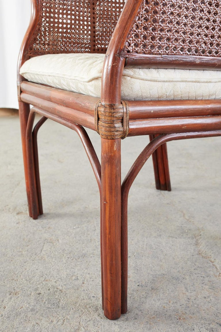 Set of Five McGuire Style Rattan Cane Barrel Back Dining Chairs For Sale 8