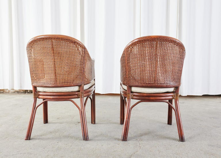Set of Five McGuire Style Rattan Cane Barrel Back Dining Chairs For Sale 11