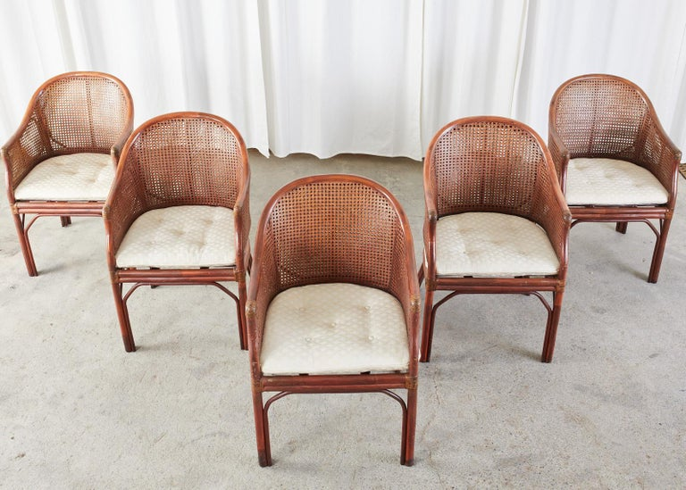 Organic Modern Set of Five McGuire Style Rattan Cane Barrel Back Dining Chairs For Sale