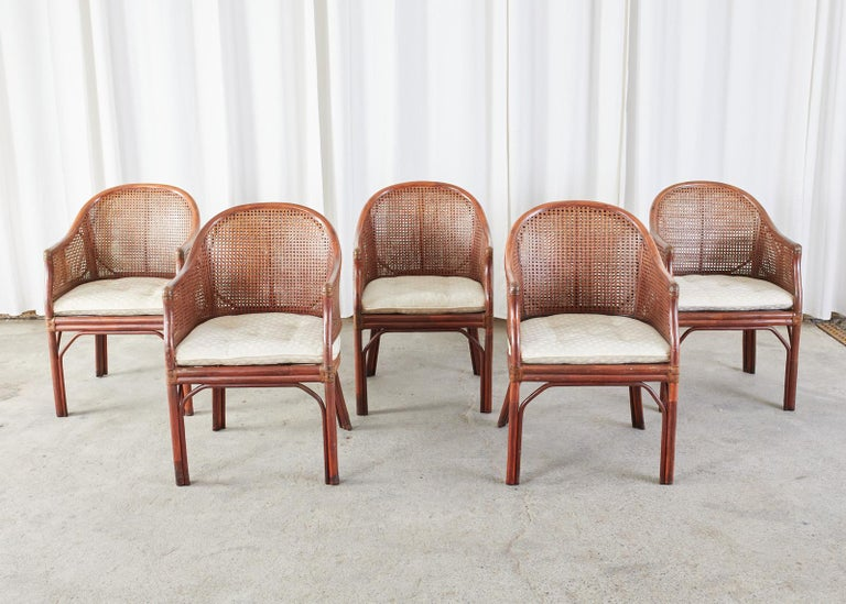 American Set of Five McGuire Style Rattan Cane Barrel Back Dining Chairs For Sale