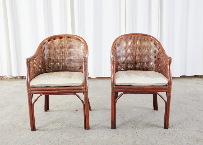 Set of Five McGuire Style Rattan Cane Barrel Back Dining Chairs In Good Condition For Sale In Rio Vista, CA