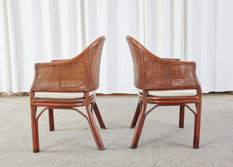 20th Century Set of Five McGuire Style Rattan Cane Barrel Back Dining Chairs For Sale