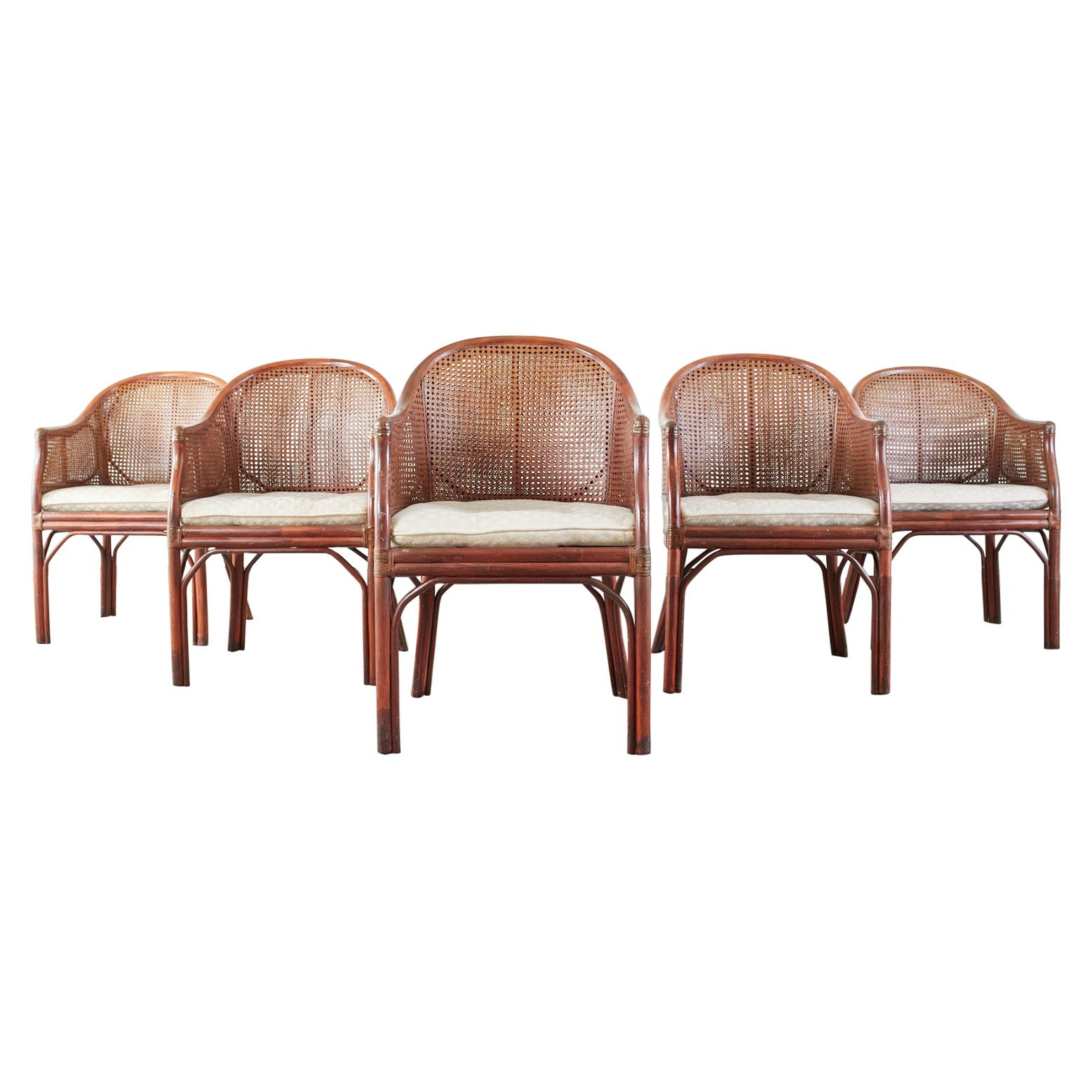 Set of Five McGuire Style Rattan Cane Barrel Back Dining Chairs