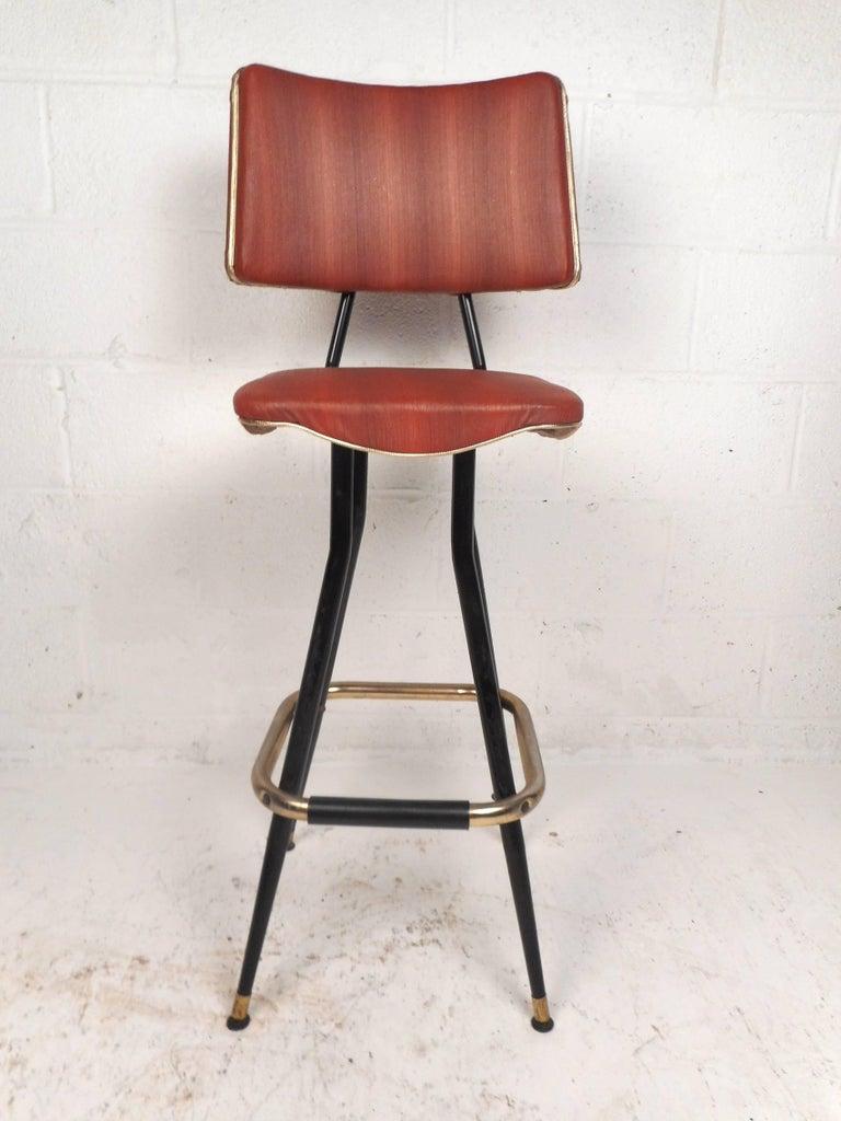 American Set of Five Mid-Century Modern Swivel Bar Stools For Sale