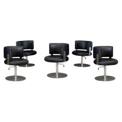 Set of Five Midcentury Chair by Formanova in in Leather Black and Steel, 1970s