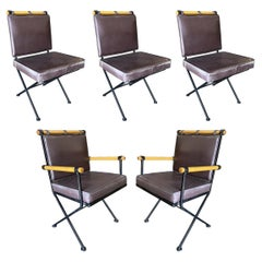"""Set of Five Midcentury """"Directors Chair"""" Chairs in the Style of Cleo Baldon"""