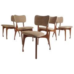 Set of Five Midcentury Finn Juhl Style Dining Chairs