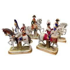 Set of Five Midcentury French Napoleonic Porcelain Riders on Horses Figures