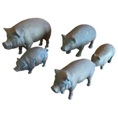 Set of Five Miniature Brass Pigs