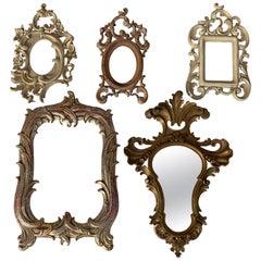 Set of Five Miniature Rococo Style Mirror / Photo Frames
