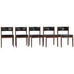 Set of Five Model 104 Dining Chairs by Gianfranco Frattini for Cassina
