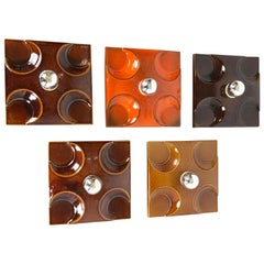Set of Five Modernist 1970s German Ceramic Fat Lava Wall Lights by Pan Ceramics