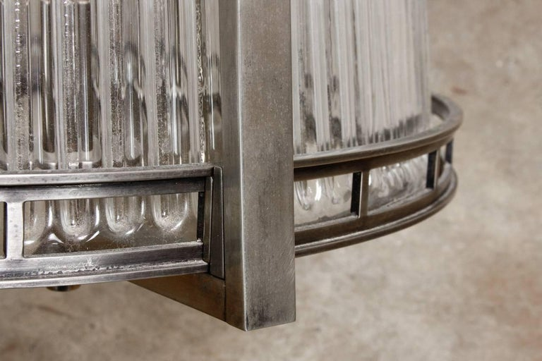Set of Five Modernist Art Deco Nickel Chandeliers For Sale 4