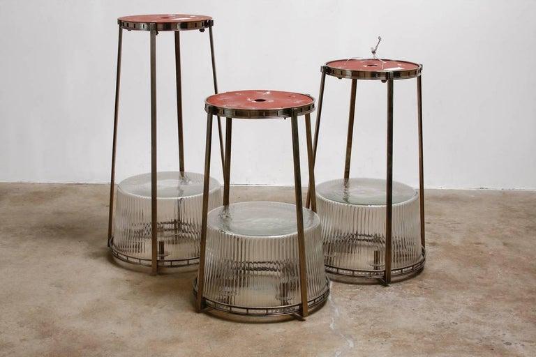 Set of Five Modernist Art Deco Nickel Chandeliers For Sale 5