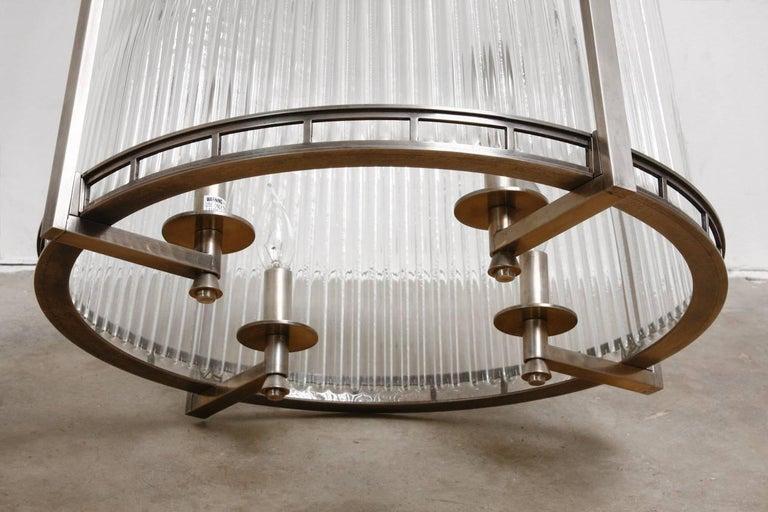Set of Five Modernist Art Deco Nickel Chandeliers For Sale 3
