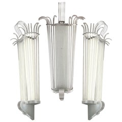 Set of Five Monumental Lighting Sconces, France, circa 1940