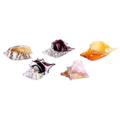 Set of Five Murano Glass Seashells