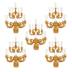 Set of Five Neoclassical Gilt Bronze Wall Lights