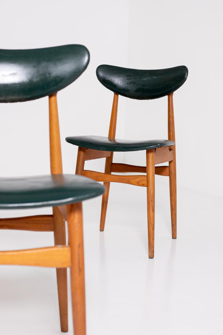 Set of Five Nordic Chairs in Green Leather and Wood, 1950s For Sale 4