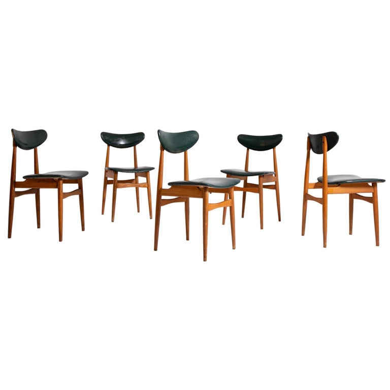 Set of Five Nordic Chairs in Green Leather and Wood, 1950s For Sale