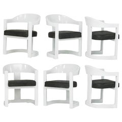 Set of Five Onassis White Lacquer Chairs Karl Springer
