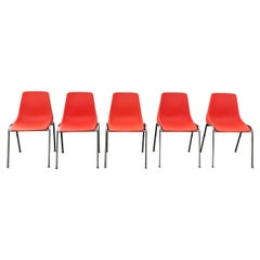Set of Five Orange Stacking Shell Chairs