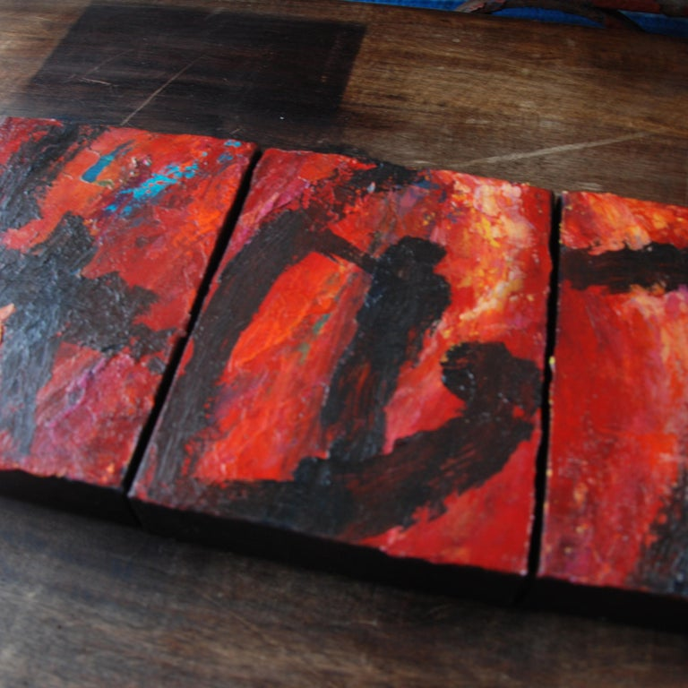 Set of Five Original Signed Abstract Canvases by Allan Rodewald In Good Condition For Sale In Pasadena, TX