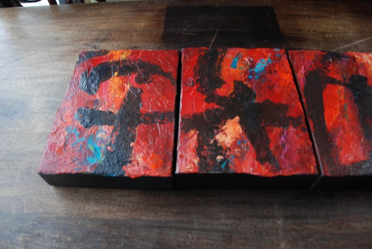 Set of Five Original Signed Abstract Canvases by Allan Rodewald For Sale 1