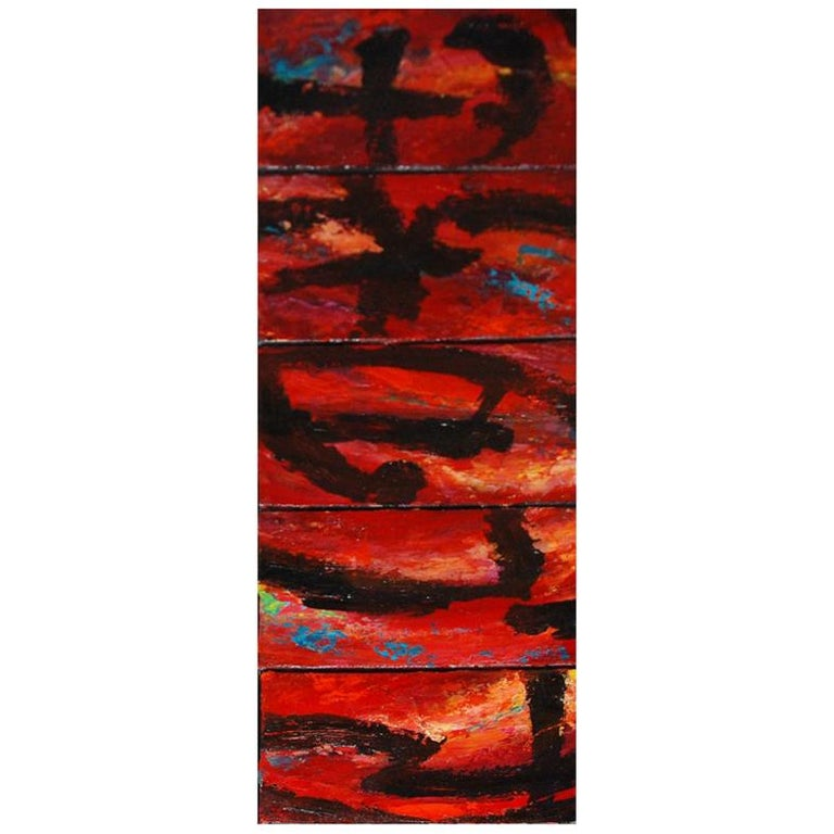 Set of Five Original Signed Abstract Canvases by Allan Rodewald For Sale