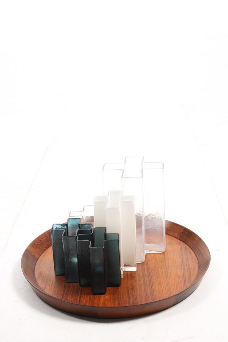 Mid-20th Century Set of Five Original Cross Vases in Glass by Bodil Kjær, 1960s For Sale