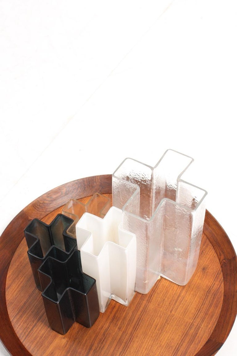 Set of Five Original Cross Vases in Glass by Bodil Kjær, 1960s For Sale 1