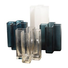 Set of Five Original Cross Vases in Glass by Bodil Kjær, 1960s