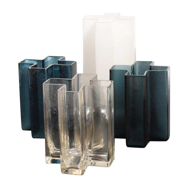 Set of Five Original Cross Vases in Glass by Bodil Kjær, 1960s For Sale