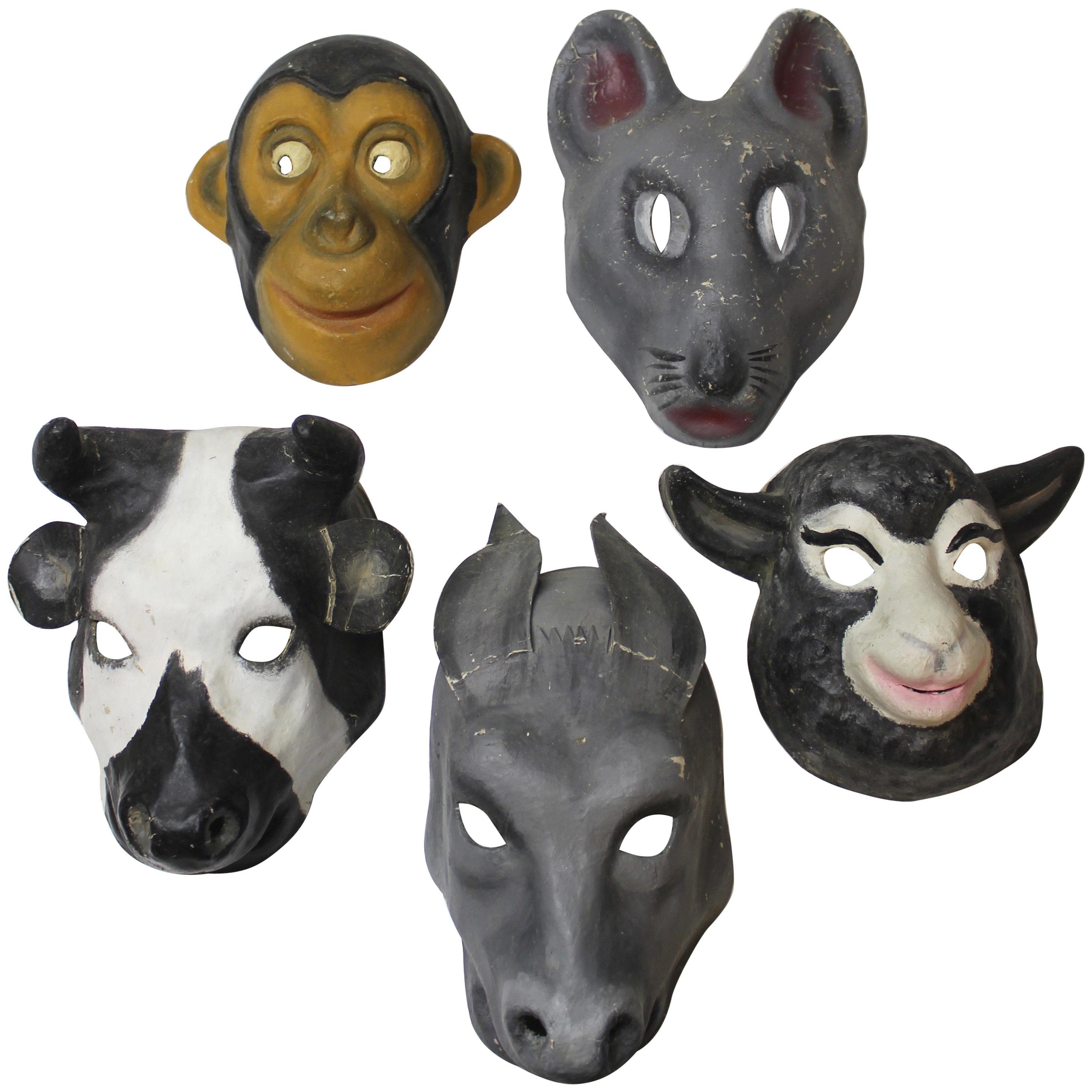Set of Five Papier Mâché Animal Masks